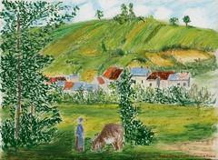 Pissaro (Loran de Cevinne) Tags: lorandecevinne croquis esquisse sketch dessin artwork draw france loran drawing illustration paysage horizon collines montagnes arbres panorama landscape