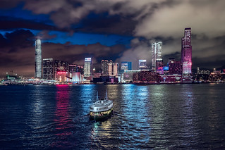 The Star Ferry by night.
