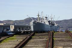 end of the line (eb78) Tags: ca california sf sanfrancisco fishermanswharf jeremiahobrien ship libertyship railroad traintracks