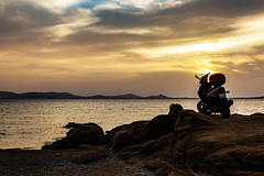 A5D_7242 Sunset Ride (foxxyg2) Tags: sun sunset gold sky scooter motorscooter motorcycle clouds aegesn naxos cyclades greece greekislands islandhopping islandlife