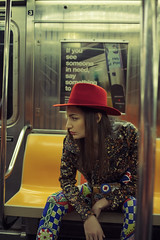 PRIMARY & METROCARD (Celeste Martearena) Tags: metrocard celestemartearena nyc new york brooklyn manhattan mta usa united states red hat model fashion fashionmodel trip travel subway metro elianabertolusso blue yellow gucci dsquared dolcegabbana dior chanel lackofcolors balenciaga