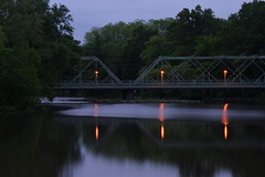 Candles In The Wind (nrg_crisis) Tags: lake bridge reflection lamps bluehour currents reflections candlesinthewind