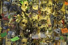 Masks for sale - Mercato di San Lorenzo flea market, Florence.. (edk7) Tags: nikond300 edk7 2010 italy italia tuscany toscana florence firenze city cityscape urban mercatodisanlorenzo fleamarket vendor booth display face mask masqueradeballmask pricetag