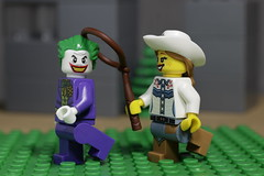 Gotcha ! (N.the.Kudzu) Tags: tabletop lego minifigures joker cowgirl canondslr canoneflens flash macro