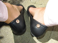 """new """"Rainbow"""" black leather ballet flats - outdoor hiking (Isabelle.Sandrine2001) Tags: 2pairofshoes shoes legs feet nylons stockings ballerinas ballet flats tatoos"""