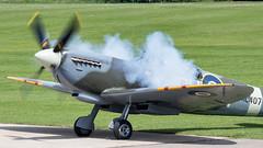 Smokin' (Al Henderson) Tags: aviation glfix gracespitfire ml407 northamptonshire planes spitfire supermarine sywelllfix tr9 warbird