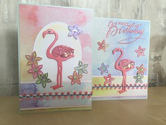 Birthday card (crafty_r) Tags: birthday wow embossingpowder ribbon pearlcard marshmallow sparkle glitter blue pink flamingo paradise tropical floral flowers stampsbychloe