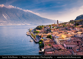 Italy - Alps - Lake Garda with beautiful historical village of Limone sul Garda