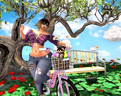 Re: Joise! Summer Breeze (Pixel Beast) Tags: joice moda jeans plaid top shirt spring summer pink read blue white brown green grey bike ride puppy york focus poses cw elite park county woods city tree flowers leaves sunny day windy breeze sl secondlife fashion blog fashionblog style stylist avistyle avikin sims thesims imvu second life falling addicted bench poppy basket clouds lsr fabia hair