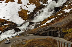 Myrkdalselvi river waterfall (cantdoworse) Tags: hairpin bend road vik voss waterfall myrkdalselvi river landscape canon 6d snow