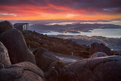 Sunrise At Mount Wellington || HOBART || TASMANIA (rhyspope) Tags: australia aussie tas tasmania hobart mount mt wellington kunanyi sunrise view vista summit lookout amazing sky color colour travel tourist clouds rhys pope rhyspope canon 5d mkii water city lights rocks