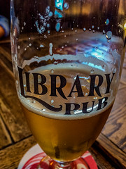 2018 - photo 166 of 365 - beer at the Library Pub (old_hippy1948) Tags: beer glass wood table