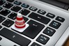 White Caution Cone on Keyboard - Credit to http://homedust.com/ (Homedust) Tags: caution cone control data display electronics gdpr keyboard laptop miniature toy number symbol