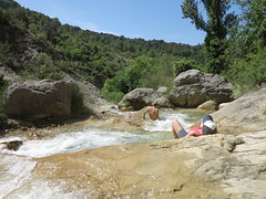 bathing by the water (squeezemonkey) Tags: climbcatalunya yogaandclimbing climbingtrip catalunya spain abelladelaconca rockpools water boulders bathing landscape