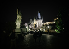 Charles Bridge (Czech: Karlův most); version 2 (Tiigra) Tags: 2017 architecture baroque bridge church city gothic light night prague renaissance road roof sculpture spire statue tower art czechia cz