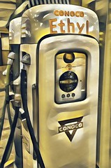 When Gas Was Cheap (lleon1126) Tags: museum stahlsautomotivemuseum automobiles cars gasoline gas petroleum gaspump petro ethyl vintage conoco