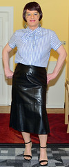 Birgit026701 (Birgit Bach) Tags: skirt rock leather leder bowblouse schleifenbluse