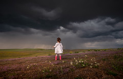 Storm is here (Bai R.) Tags: storm rain sunset boots pink flowers child childhood children girl amazing sky clouds