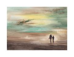 Rivage (Yvan LEMEUR) Tags: aquarelle acuarela peinture rivage promeneurs watercolour