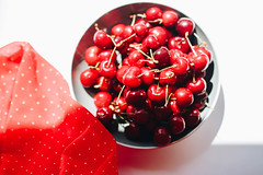 Top view of fresh cherries in a bowl with red fabric (wuestenigel) Tags: wood natural color berries sweet table background snack delicious cherries ripe isolated napkin white raw group wooden large kitchen berry blue fresh food red tasty bowl summer healthy dessert cherry vegetarian dark top freshness nature vitamin juicy fruit closeup organic