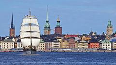 The sailing ship Tre Kronor departing from Stockholm (Franz Airiman) Tags: båt boat ship segelfartyg sailingship brig brigg briggen segel sail saltsjön stockholm sweden scandinavia fartyg