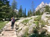 Trail to Inspiration Point in Grand Teton National Park. (lhboudreau) Tags: grandtetonnationalpark grandteton teton tetons grandtetons park nationalpark cascadecanyontrail inspirationpoint trail hike jennylake forest forests tree trees pine pines outdoor outdoors landscape people lake mountain mountains wood woods hiking wyoming water sky rocky stairs stairway rock mountainside grass