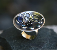 lily pond (SpiralStone) Tags: jewellery jewelry recycledsilver sterlingsilver metal metalwork handmade ring kyanite blue topaz lily