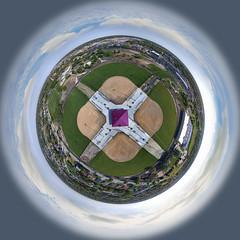 Centennial Park, Oak Lawn IL - Little Planet Panoramic (Rick Drew - 19 million views!) Tags: little planet oaklawn il illinois centennial park facelift construction cook county trees forest grove playground grass field ballpark fence heavy equipment progress dji drone phantom4pro p4p