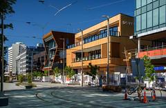 Sunny Spot (Jocey K) Tags: newzealand nikond750 christchurch building architecture rebuild street road bikes trees shadows seats sky cbd