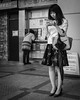 Texting (Bill Morgan) Tags: fujifilm fuji xe3 18mm f2 bw jpeg acros lightroomclassic street kichijoji tokyo