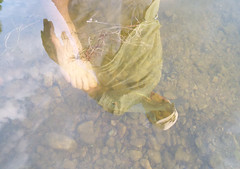 Our Water (EX22218 - ON/OFF) Tags: water fish big bluegill sunfish stones clouds sky white blue hand hands foot ankle hat cobra clear reflection lake nature man cool green gray brown life marine environment