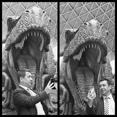 Selfie Fail (Douguerreotype) Tags: candid england london monochrome blackandwhite people uk statue british train street mono city britain urban gb bw station