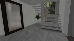 Client Work - Atlantic Avenue (brinks_lemmon) Tags: foyer staircase stairwell marble wood white clean modern fresh mirror flower flowers plant console table rug carpet cement book books bag purse light