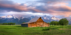 Moulton Barn - Grand Teton National Park (RondaKimbrow) Tags: moulton barn grandtetonnationalpark tetonrange mormonrow wyoming sunrise mountains meadow trees grass landscape view wyominglandscape photography clouds sky