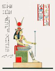 Hathor illustration from Pantheon Egyptien (1823-1825) by Leon Jean Joseph Dubois (1780-1846). Digitally enhanced by rawpixel.