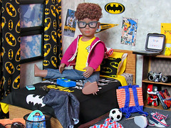 Tyler's Room (back2s0ul) Tags: our generation doll tyler boy black aa 18 eighteen inch american girl z yang accesories life team player crafts batman corner room diorama fanboy funko impopster harley quinn pikachu bedding bedroom