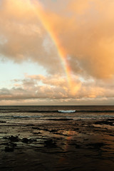 Rainbow and wave (sonofwalrus) Tags: canon eos7d slr australia rainbow wave water ocean rocks clouds sea reflection surf marengo victoria