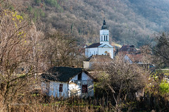 In Rural Serbia (pietkagab) Tags: village serbia serbian dobra church tower forest forested mountains cottage balkans balkan pietkagab photography pentax piotrgaborek pentaxk5ii travel trip tourism sightseeing adventure