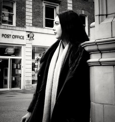 Post Office Girl. (ianmiller6771) Tags: streetphotography streetphotographyuk blackandwhite bw monochrome prettygirl profile fuji scarf wintercoat candid beautifulgirl ukstreetphotography whiteblack