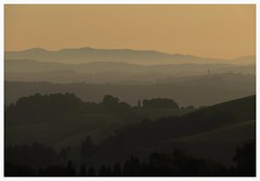 Layers (Gert Vanhaecht) Tags: italy gold perspective landscape sunset colour canon light silhouettes colours tree tuscany gertvanhaecht trees mountains dof canonsx720hs
