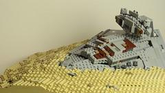 LEGO STAR WARS MOC - Crashed ISD on Jakku (Dragonod Brick Productions) Tags: lego star wars destroyer jakku episode 7 force awakens sand desert inflictor moc dragonod brick productions dune crashed stardestroyer studios baseplate 48x48 tan plates fire rey vii tfa