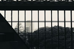 castle through window. (framingthestreets) Tags: •blackandwhite blackandwhite streetphotography streetphotographer daidomoriyama streertart reality reallife livingthemoment captured framed japan osaka osakacastle castle moderncity fusion modern tradition traditional window windows perfectview