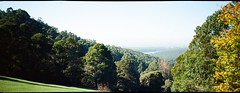 Dandenong Ranges National Park (Matthew Paul Argall) Tags: anscopixpanorama fixedfocus focusfree plasticlens cheaplens panorama panoramic 35mmfilm yarraranges mountain mountainview silvanreservoir dandenongranges