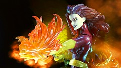 Destroyer of Worlds (custombase) Tags: xmen marvellegends jeangrey darkphoenix figure fire effects dark phoenix toyphotography