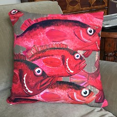 Red Snapper - Large Scale Pillow (Isleofhope) Tags: redsnapper fish oceanlife sealife schooloffish seafood fishmarket seafoodrestaurant textile pillow fishermen gills flippers beachhouse vacationhome interiordesign homeaccessories snapper marine life originalart acrylicpainting art