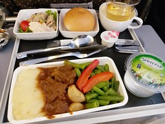 SQ Inflight Lunch: Braised Beef & Mash Potato (:Dex) Tags: inflightmeal inflightfood beef potato mashpotato vegetable bun salad water applejuice food sq singaporeairlines yummy
