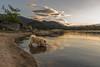 Bebiendo nubes. (Amparo Hervella) Tags: lago perro embalsedelburguillo ávila españa spain atardecer nube reflejo roca naturaleza d7000 nikon nikond7000