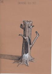 Drooling old tree. (Klaas van den Burg) Tags: drool ink crownpen white black humor knife eye
