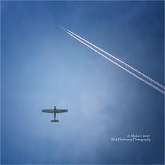 Flight Levels (rhfo2o - rick hathaway photography) Tags: rhfo2o canon canoneos7d elmer elmersands bognorregis sky skies cloud cessnaskyhawk cessna172 gdbod trail airliner blue aeroplane aircraft goodwood goodwoodaeroclub