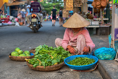 Hoi An Streets (Gilama Mill) Tags: hoi an hoian lady vegetable old vietna veitnam asia travel food seller market